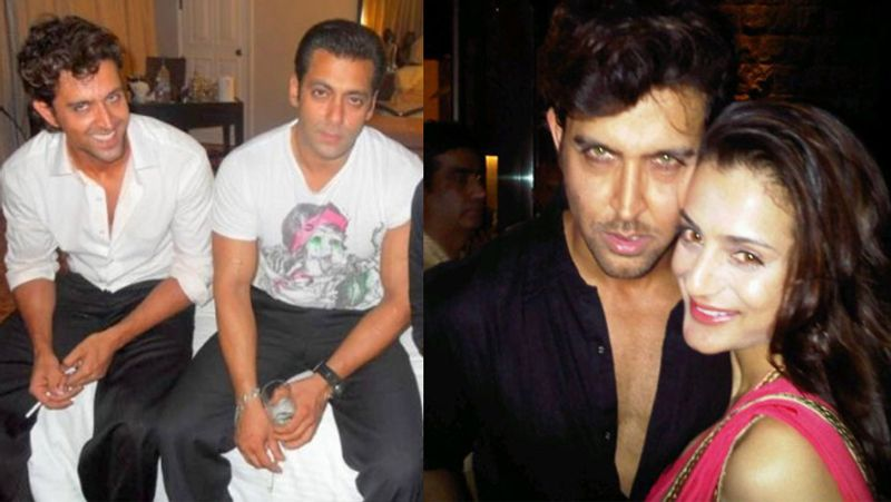 Hrithik Roshan with Salman Khan and Amisha on the other side with Hrithik appeared drunk